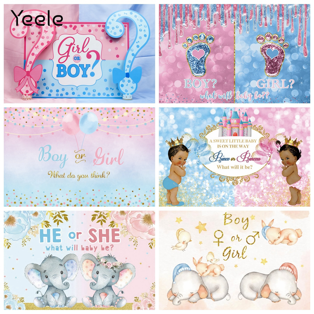 Yeele Baby Shower Backdrop For Photography Boy Or Girl Gender Reveal Party Background Red Or Blue Decor Photocall Studio Props