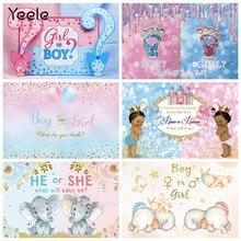 Yeele chá de fraldas pano de fundo para fotografia menino ou menina gênero revelar festa fundo vermelho ou azul decoração photocall estúdio adereços