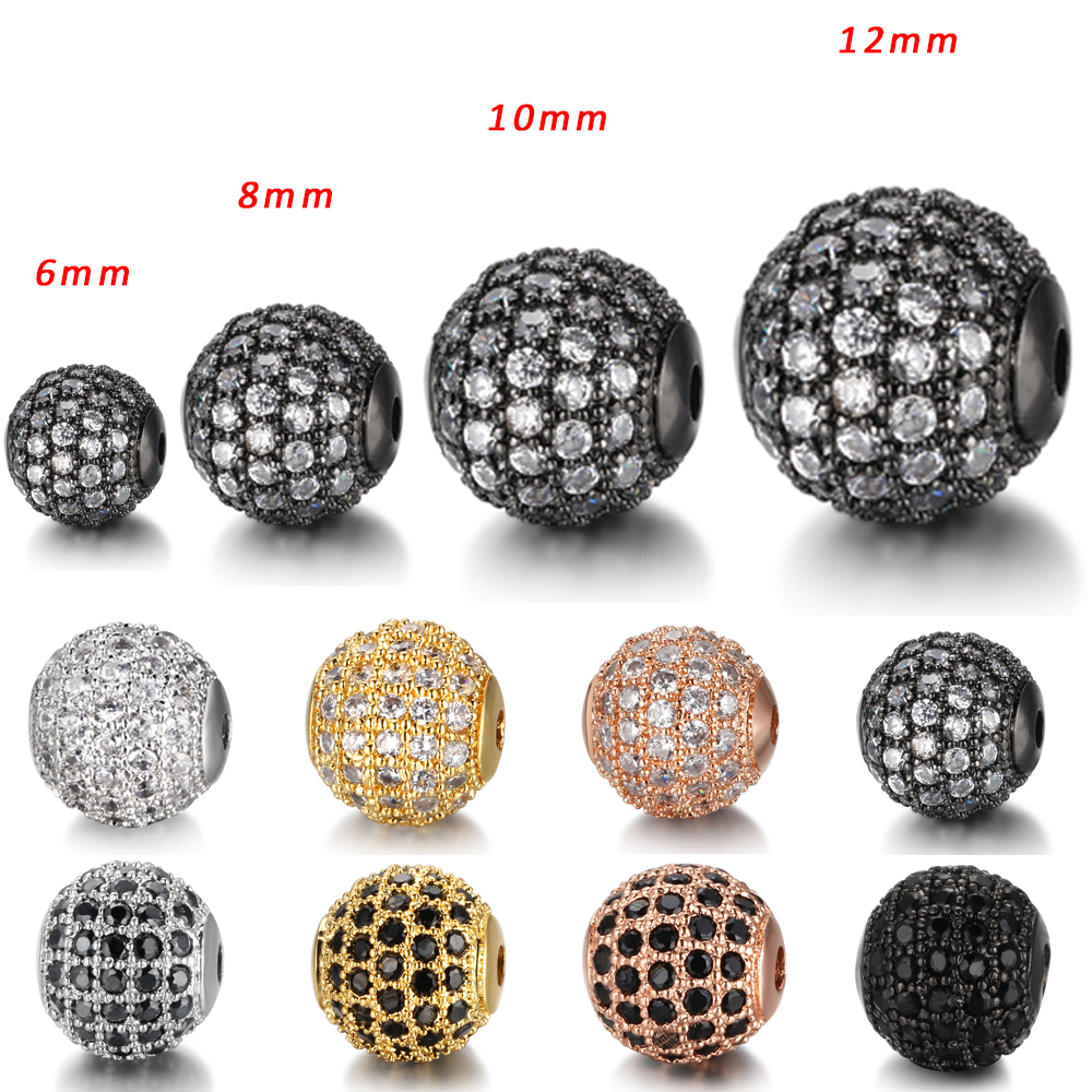 6 8 10 12mm Round Beads Diy Accessories For Bracelet Jewelry Making Micro Pave CZ Cubic Zirconia Silver Beads Wholesale