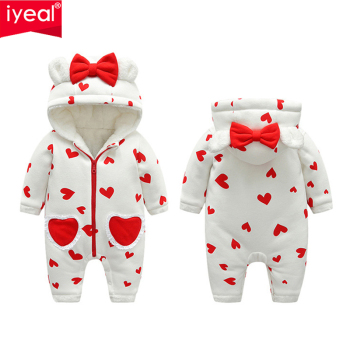 IYEAL Winter Rompers Baby Girl Newborn Clothes Children Toddler Girls Jumpsuit Kids Warm Fleece Inner Hooded Overalls With Bow iyeal newborn baby snowsuit children infant winter coat warm liner hooded zipper jumpsuit boys girls duck down outwear overalls