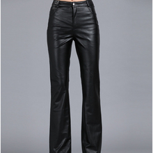 2014 Women's Bell-bottom Leather Pants Suit Genuin