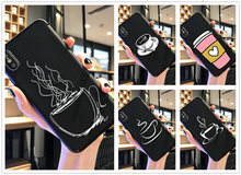 Coffee Hand drawn line art phone case black soft cover for Samsung s8 s9 s10plus S6 S7Edge for iPhone 6s 7 8plus 5 X XS XR XSMax цены