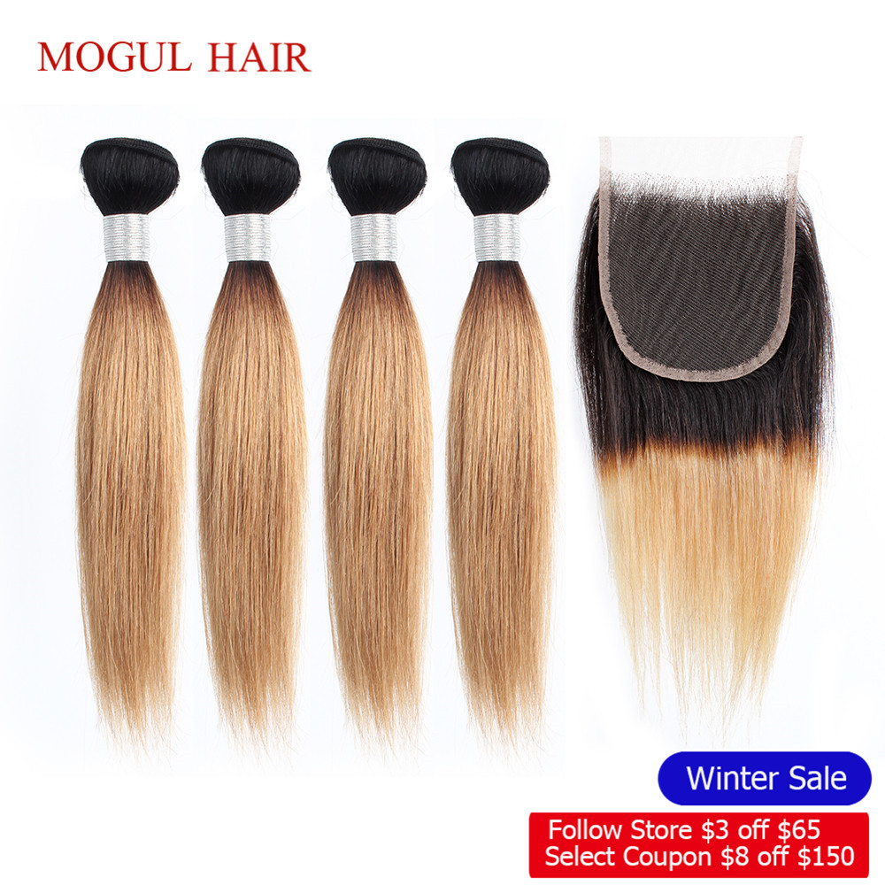 MOGUL HAIR 50g/pc 4/6 Bundle With Closure Honey Blonde Bundles With Closure T 1B 27 Brazilian Straight Ombre Remy Human Hair