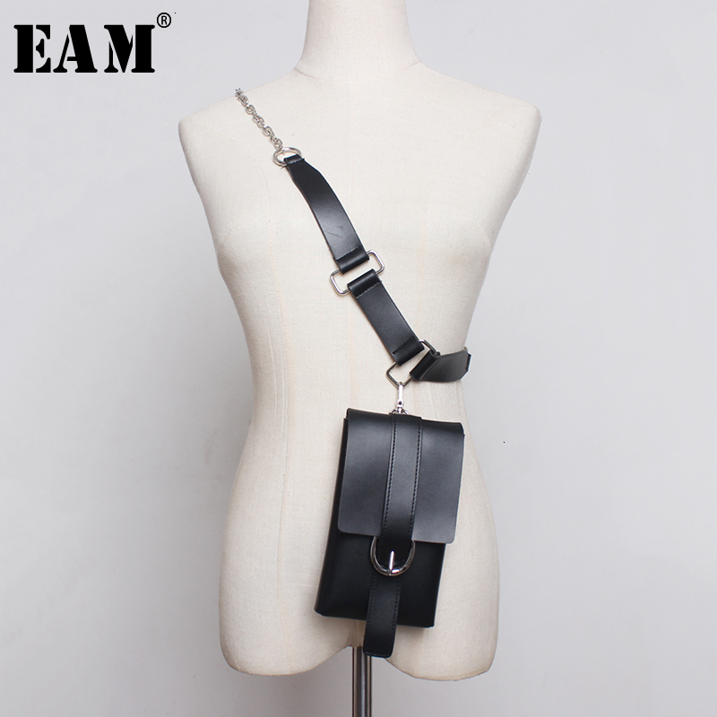 [EAM]  Pu Leather Chain Split Joint Long 2 Ways Wear Long Belt Personality Women New Fashion All-match Spring Autumn 2020 1D810