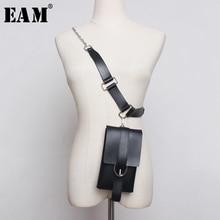 [EAM] Pu Leather Chain Split Joint Long 2 Ways Wear Long Belt Personality Women