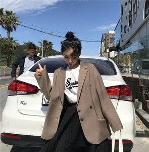 Style petit ami 2019 nouveau Style coréen grande taille noir femmes Blazers et vestes jolie pochette Mujer surdimensionné Blazer Feminino