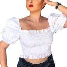 Женская летняя блузка с пышными рукавами белый топ труба модная