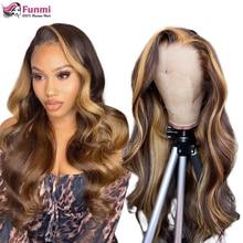 P4/27 peluca brasileña de la onda del cuerpo de la peluca delantera de encaje pelucas de cabello humano para las mujeres negras rubio miel Ombre peluca Frontal de encaje Remy