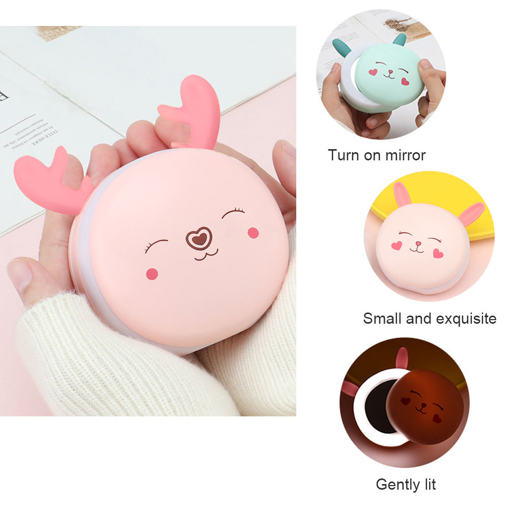 Multifunctional Portable 3 In 1Mini Hand Warmer USB Rechargeable Power Bank Hand Warmer Electric LED Light Makeup Mirror Warmer
