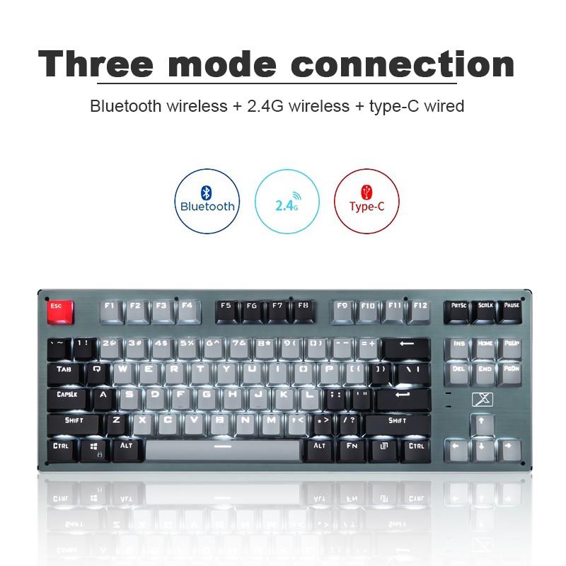 Механическая клавиатура с 87 клавишами, bluetooth, USB, беспроводная, тип-c, три режима, с подсветкой, синий переключатель, Игровая клавиатура для но...