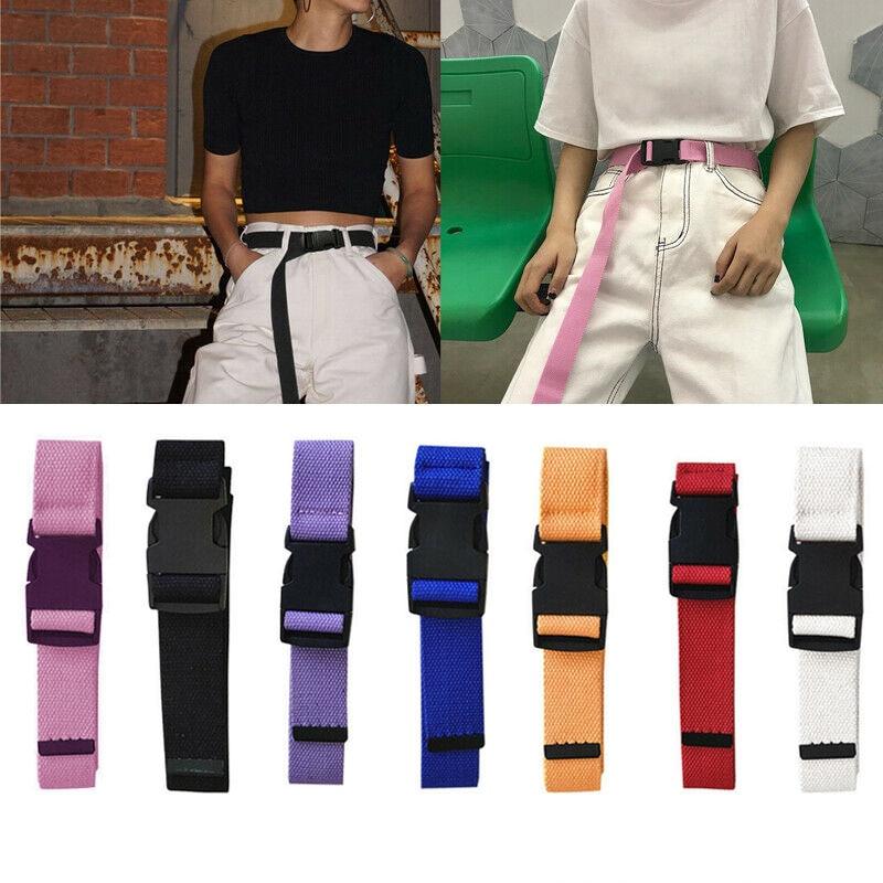 Canvas Waist Belt Women Casual Female Long Belts Plastic Buckle Harajuku Hot