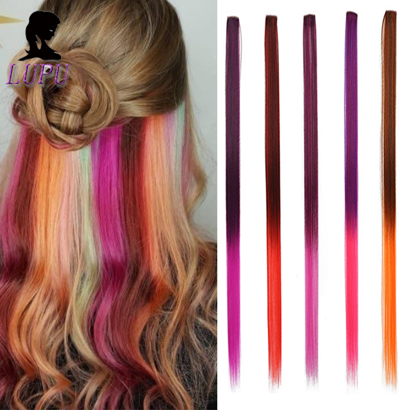 LUPU Long Straight Synthetic Hair Extensions Clip In One Piece Rainbow Highlight Ombre Pink Grey Hair Strands On Clips For Women
