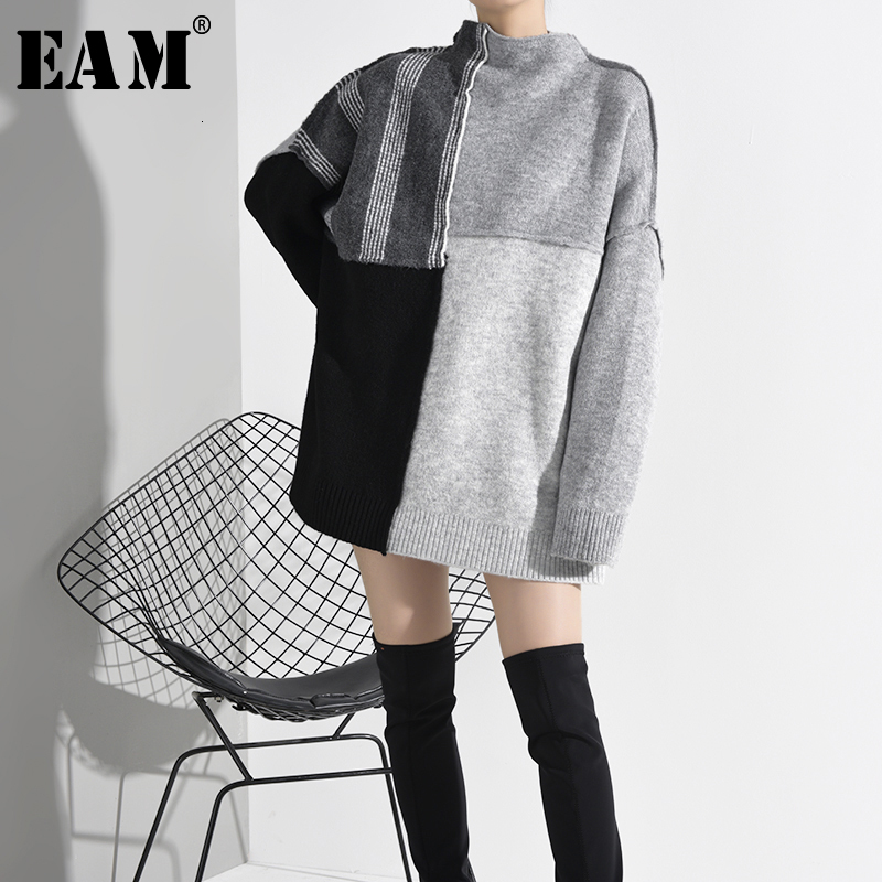 [EAM] Contrast Color Big Size Knitting Sweater Loose Fit  Stand Collar Long Sleeve Women Pullovers New Fashion Spring 2020 A267