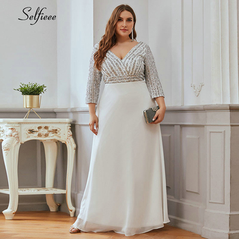 Plus Size Women Dress A-Line Double V-Neck Sequined 3/4 Sleeve Sparkle Formal Party Dress Ladies Elegant Maxi Dress Vestidos