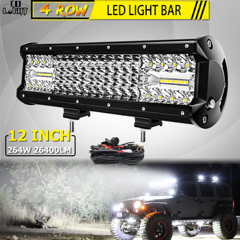 CO LIGHT 16D 12 Inch LED Work Light Bar 4-Rows 264W Offroad Combo Led Beams for 4WD 4x4 Truck ATV 12V 24V
