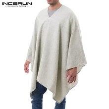 Men Cloak Coats Ponchos Trench Streetwear INCERUN Casual Irregular V-Neck Loose Solid