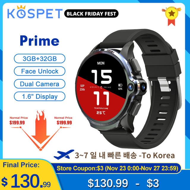 часы мужские KOSPET Prime שעון חכם תומך עברית Smartwatch 2020 3GB 32GB שעון חכם Men Smart Watch טֵלֵפוֹן For Man שעון לגבר GPS חכם שעונים Battery 1260mAh Android שעונים לנשים WIFI смарт часы For Xiaomi Phone Samsung