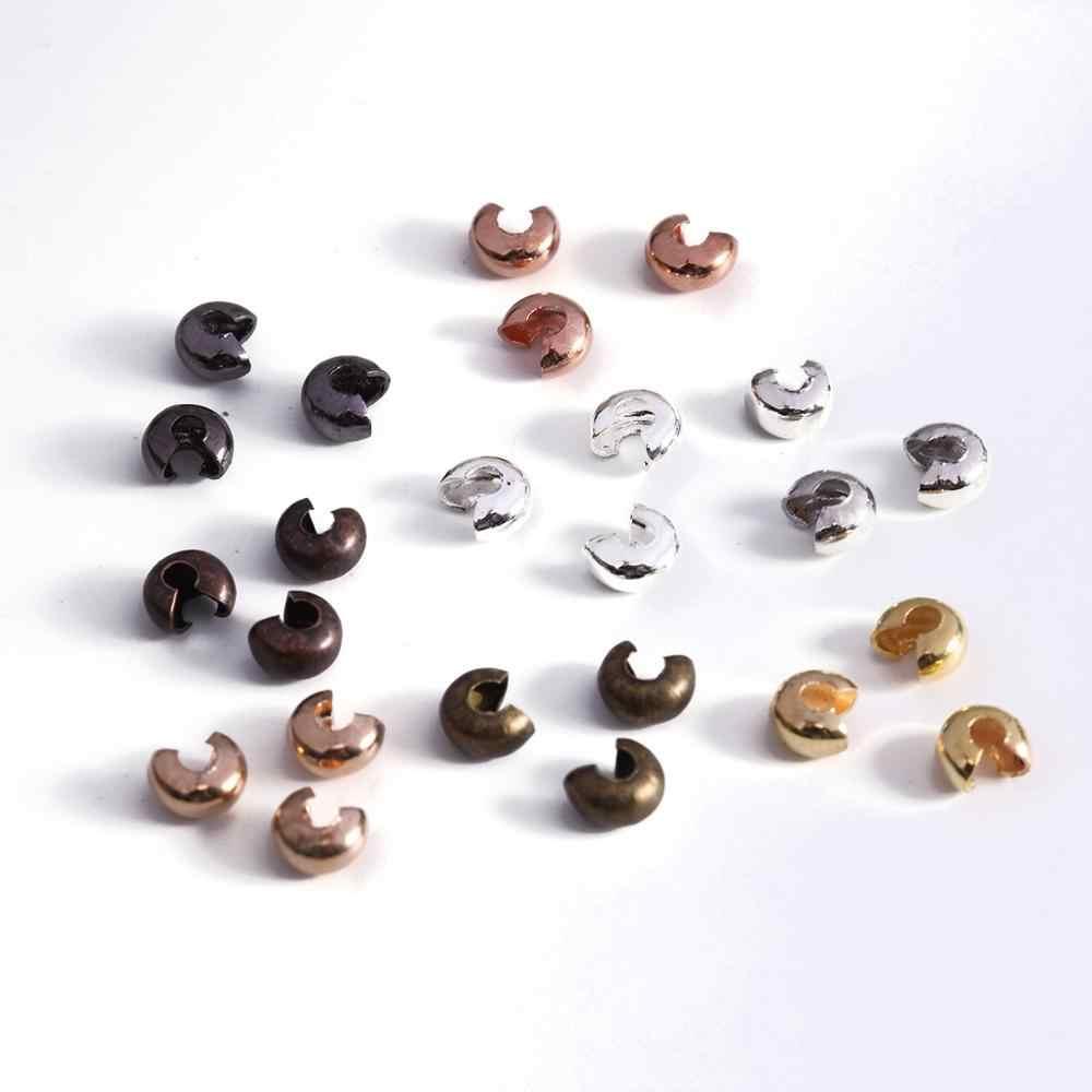 100 unids/lote de perlas redondas de cobre de plata diámetro 3 4 5 mm cuentas espaciadoras de tapón para hacer joyas DIY