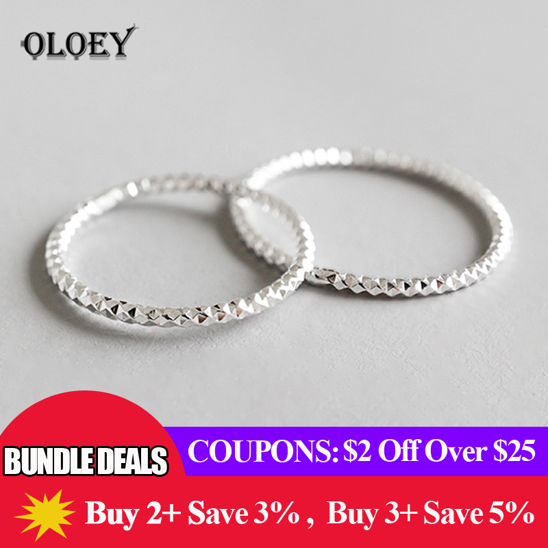 OLOEY 100% Real 925 Sterling Silver Ring Simple Glint Gleam Thin Little Finger Rings For Women Fine Jewelry Gift Hot Sale YMR536