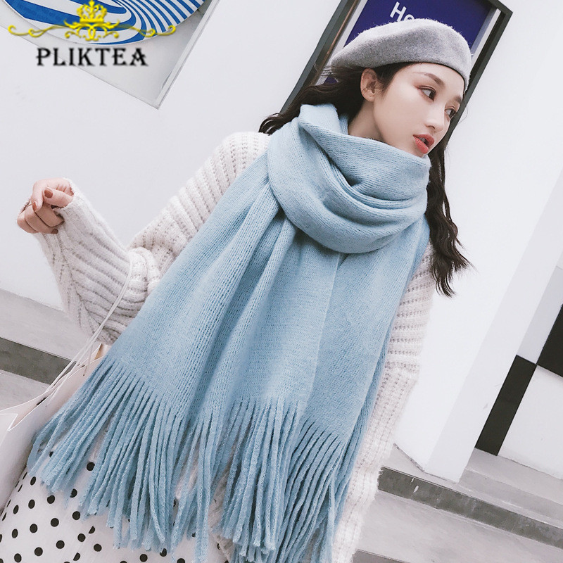 2019 Sky Blue Women's Knit Long Scarf Wool Blend Solid Color Winter Female Tippet Scarf Faux Cashmere Striped Red Foulard Femme