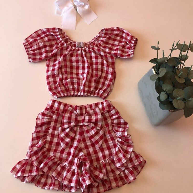 2Pcs//Set Toddler Baby Girl Clothes Summer Outfits Ruffle Off Shoulder Tops Plaid Shorts Pants
