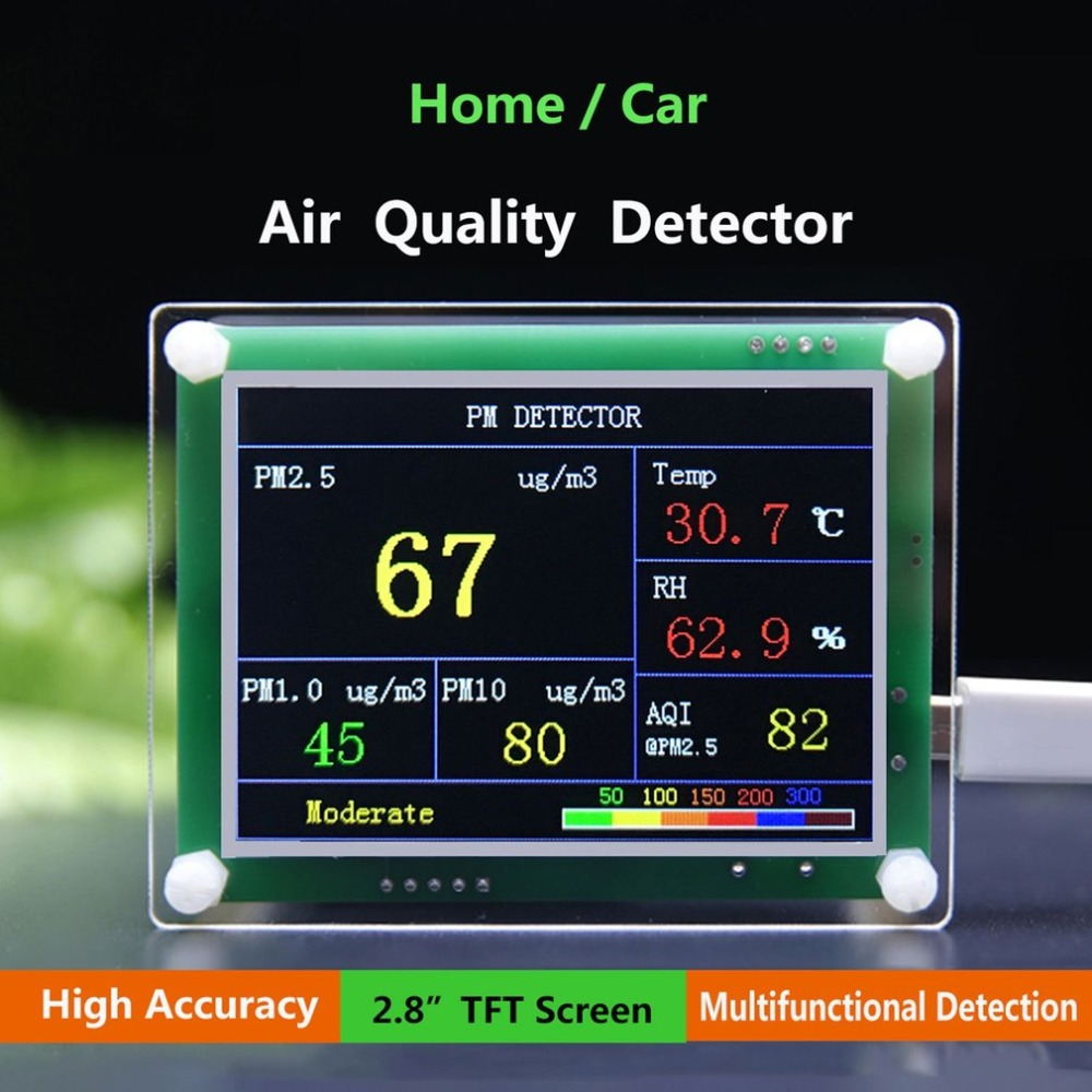 Car Home PM2.5 Air Quality Detector 2.8-Inch TFT Screen Digital Air Particulates Measure Meter Tester AQI Home Gas Monitor