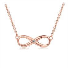Infinity Necklace For Women Happiness 8 Letter Jewelry Girls Rose Gold Crystal Endless Pendants Fashion Gift