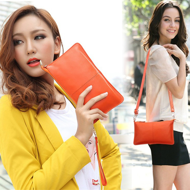 Clutch Bag Genuine Real Soft Leather Solid Colours