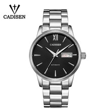 CADISEN Automatic Mens Mechanical Watch Waterproof Week Calendar Double Show Business Gentleman Man Style Steel Band Watch