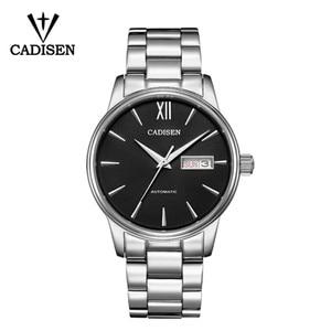 Image 1 - CADISEN Automatic Mens Mechanical Watch Waterproof Week Calendar Double Show Business Gentleman Man Style Steel Band Watch