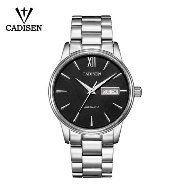 CADISEN automatyczny męski zegarek mechaniczny wodoodporny kalendarz tygodniowy podwójny pokaz biznesowy dżentelmen styl męski pasek stalowy zegarek