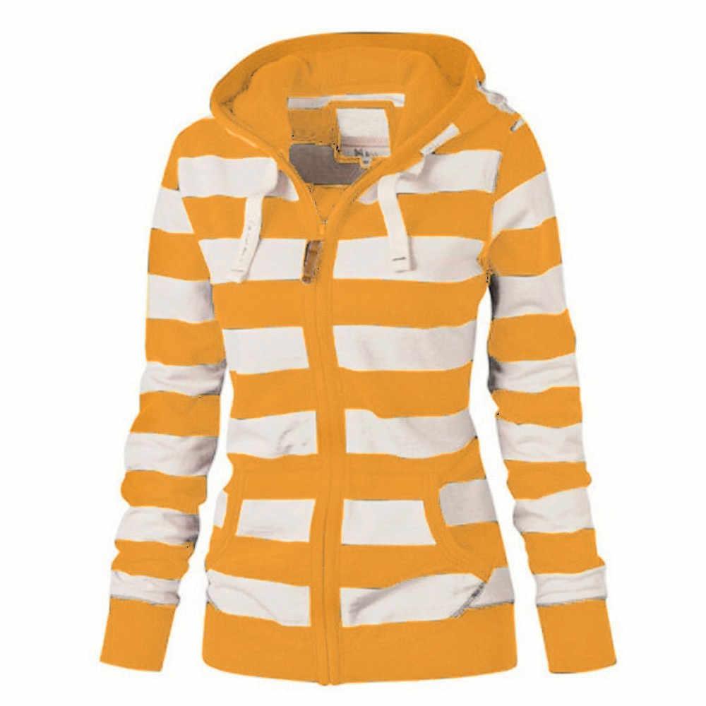 Winter sweatshirt women Plus Size Ladies Zipper Striped Tops Harajuku  Hoodie Hooded Sweatshirt Coat Jacket Casual Slim Jumper