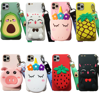 For Xiaomi Mi A1 A2 F1 6 8 9 3D Cartoon Animal Soft Silicone Purse Case Wallet Phone Cover With Strape Chain Shell Bag Cable