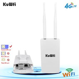 KuWFi Waterproof Outdoor 4G CPE Router 150Mbps CAT4 LTE Routers 3G/4G SIM Card WiFi Router for IP Camera/Outside WiFi Coverage(China)