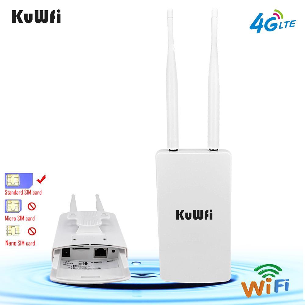Roteadores exteriores impermeáveis de kuwfi 4g cpe do roteador 150 mbps cat4 lte roteadores 3g/4g cartão sim roteador wi-fi para a câmera ip/cobertura exterior de wifi