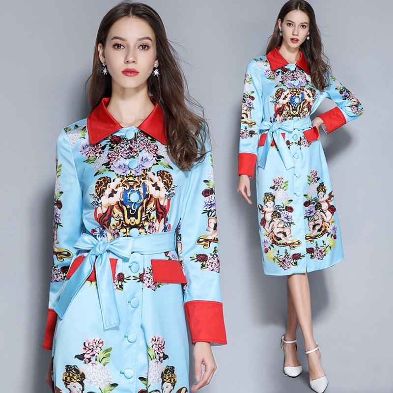 Spring Runway Hit Color Angel Hydrangea Long Trench Coat Women Elegant Belt Overcoat Floral Print Casual Outerwear Abrigos K242