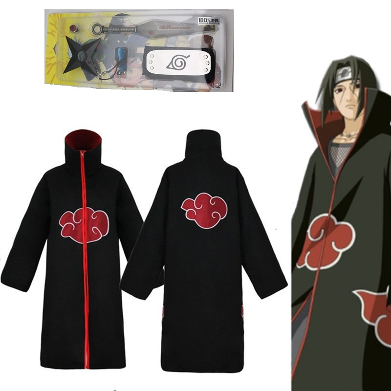 Zhu Ring 4PC Anime Naruto Uchiha Itachi Kunai Necklace Cosplay Toy Headband