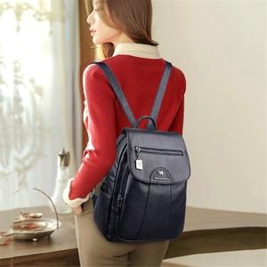 Image 3 - מעצב יוקרה תרמיל עור אמיתי באיכות גבוהה תיקי בית ספר נער בנות נסיעות תרמיל Bagpack המוצ ילה Mujer 2020