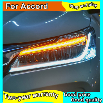 car styling for Honda Accord 10th Headlights 2016 2017 LED High Beam LED Low Beam With Yellow Turning Signal LED Bar