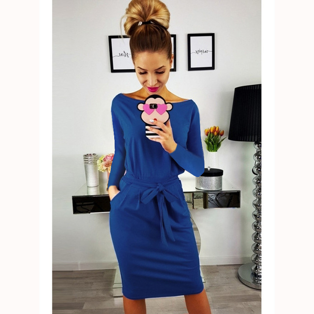 2018 Europe And America Autumn And Winter Hot Selling WOMEN'S Dress 7 Colors 6 Code-Style Lace-up Belt Crew Neck Long Sleeve Sli 3