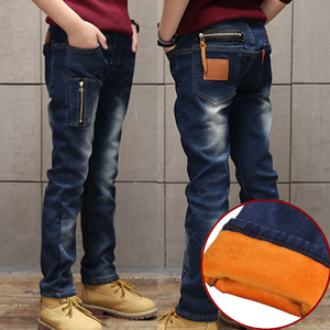 Image 3 - 2020 winter kinder kleidung jungen jeans beiläufige dünne verdicken fleece denim baby jungen jeans für jungen große kinder jean lange hosen