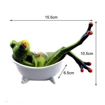 11 סגנונות 3D מיני שרף ירוק צפרדע צלמית חמוד פסל מלאכת קישוטי עיצוב הבית לסלון אדן החלון גן