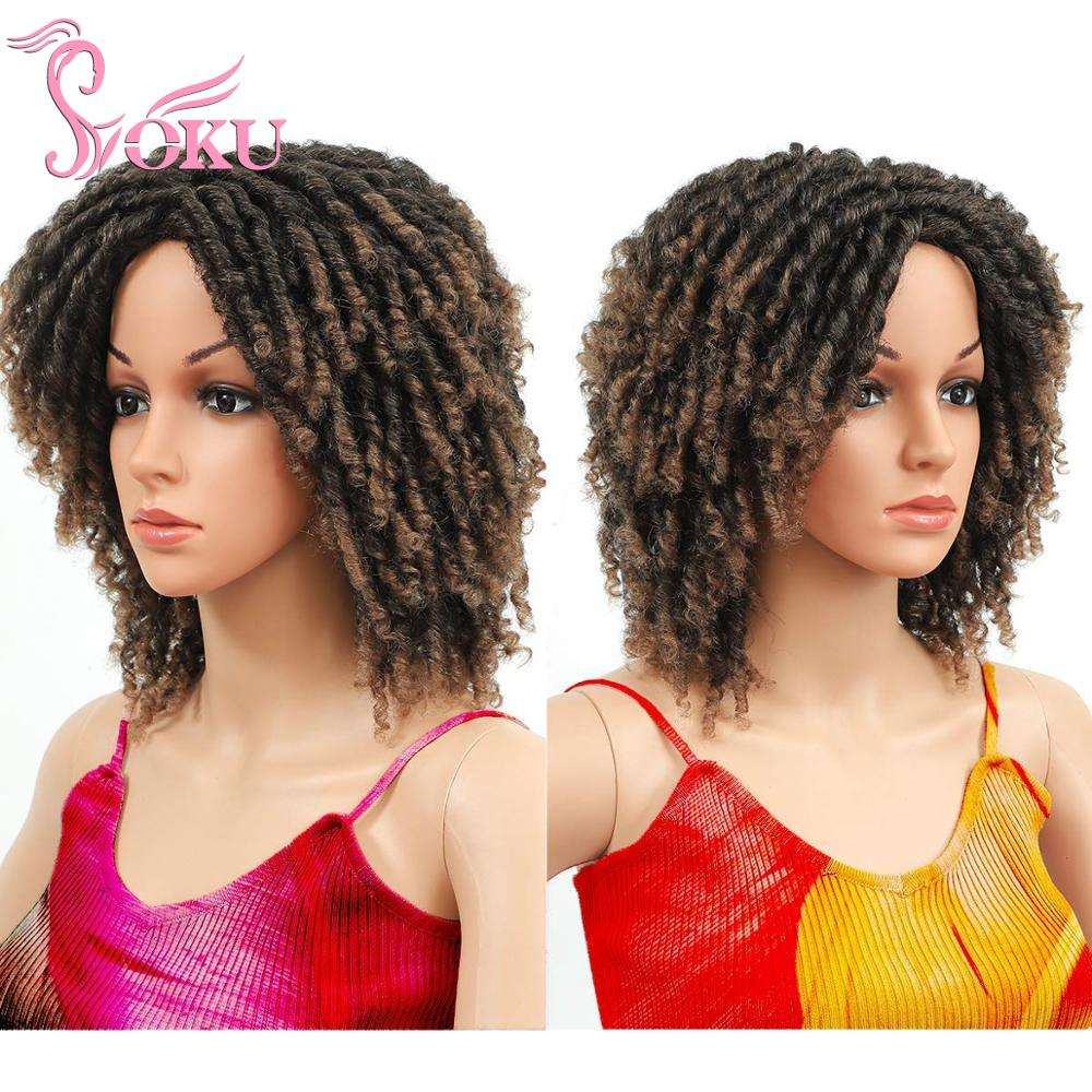Ombre Dreadlock Wig Short Curly Synthetic Braided Wigs for Black African Women SOKU Fashion Roll Twist Wigs Daily Replacement