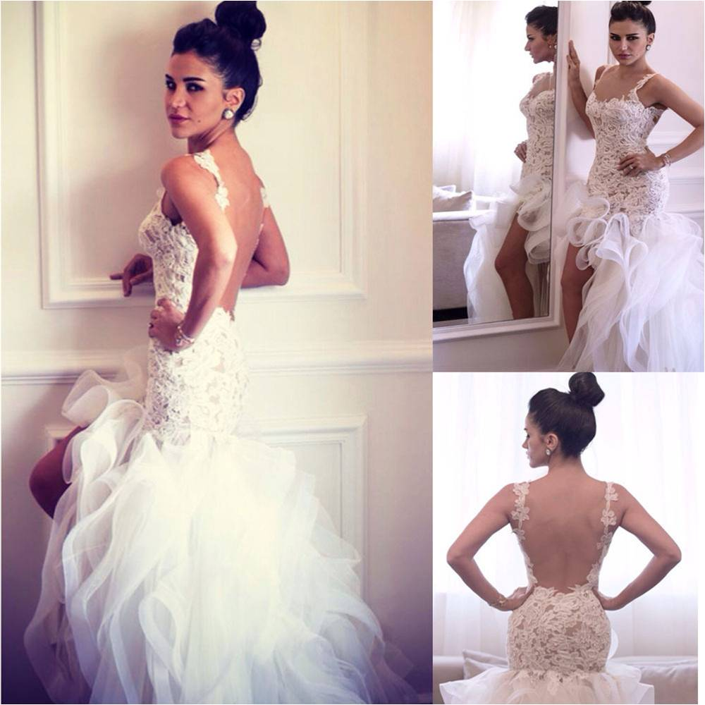 HTN5 Spaghetti Straps Backless High Low Lace Organza Wedding Ruffles Short Front Long Back Customized Mother Of Bride Dresses
