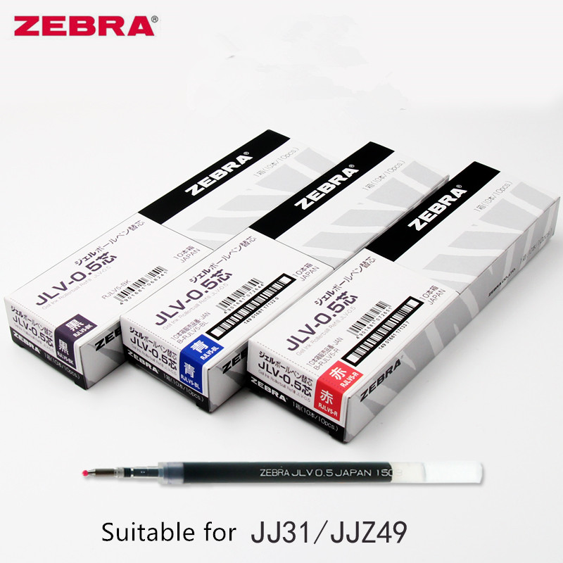 10pcs/Box ZEBRA JLV-0.5 Quick-drying Oil Ink Gel Pen RefillsAirfit SARASA Dry JJ31 JJZ49 Writing Black/Blue/Red  0.5mm