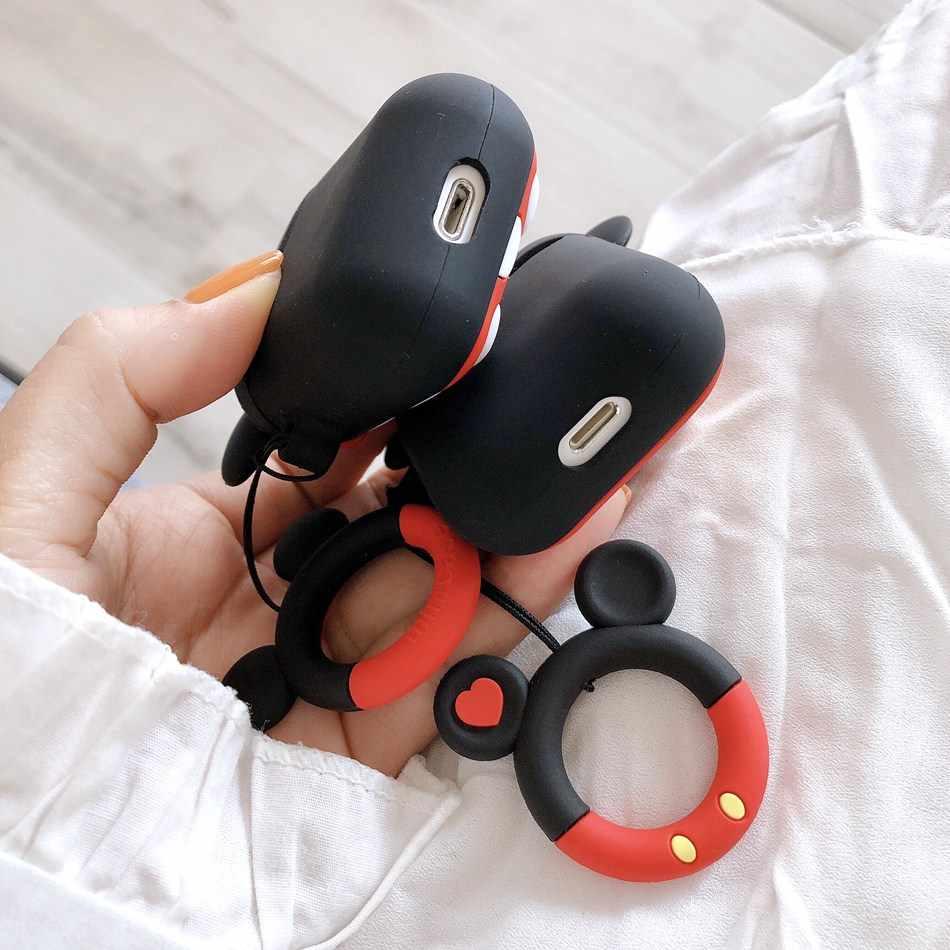 Cho Rung Dễ Thương 3D Hoạt Hình Đáng Tai Nghe Chụp Tai Dành Cho Tai Nghe Airpods 2/I10/I11/I12 TWS Mềm Mại bảo Vệ Da Với Ngón Tay Dây Đeo Vòng