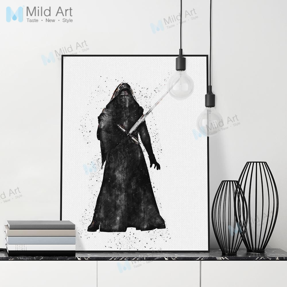 Black White Modern Pop War Film A4 Posters Prints Nordic Movie Fan Star Darth Vader Wall Art Pictures Home Decor Canvas Painting image