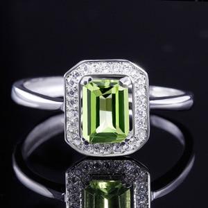 Image 2 - Bague Ringen 100% Real Sterling Silver Ring Voor Vrouw Met Rechthoek 7*5Mm Natuurlijke Olivijn Gemstone Fine Jewelry bruiloften Geschenken
