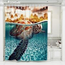цены Anime Turtle Decoration Bathroom Curtains 3D Waterproof Fabric Shower Curtain Bath douchegordijn cortina de ducha tenda doccia