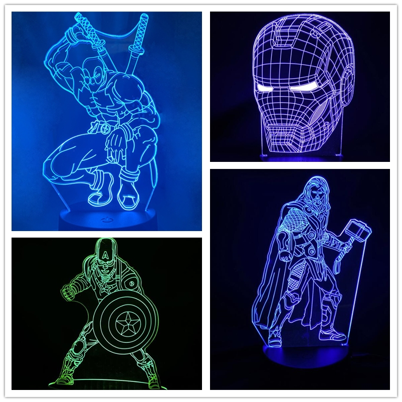 Marvel Avengers 3D Lamp Captain America Thor Iron Man Action Figure LED Night Light 7 Color Changing Lamp Kids Christmas Gifts